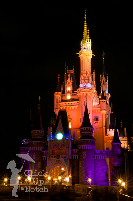 The Disney castle lit up at night.