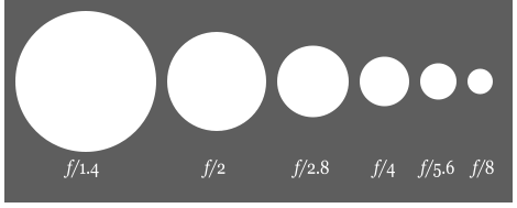 Grey and white graphic showing how aperture lets in light.
