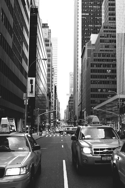 Black and white photo of taxi's in street photography