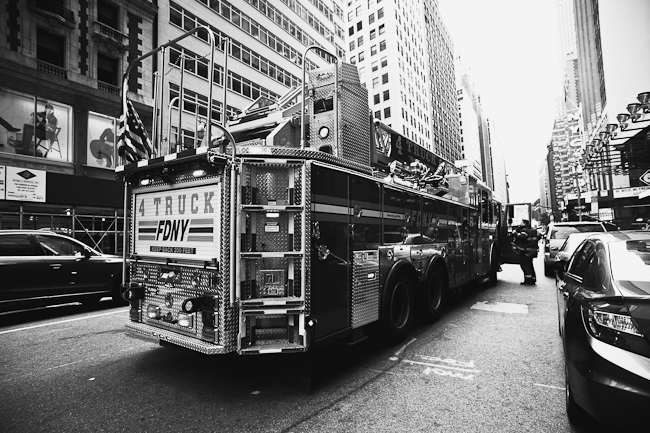 Black and white image of a FDNY fire truck from a wide angle for street photography